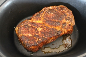Searing pork