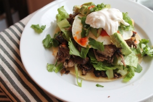 Pork breakfast tostada