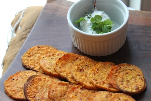 Roasted Sweet Potato Slices with Cilantro Lime Aioli