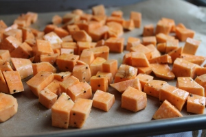 Roasting sweet potatoes