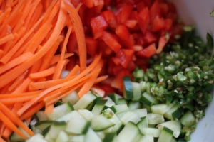 Vegetables with hot peppers